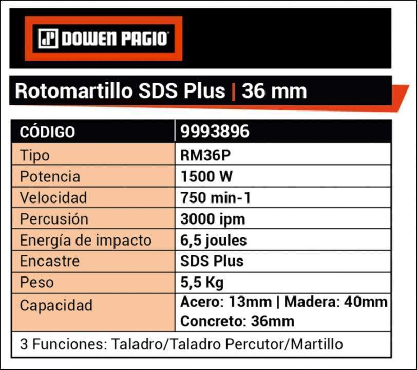 Taladro rotopercutor SDS PLUS 36mm 1500W 9993896 Dowen Pagio - 4