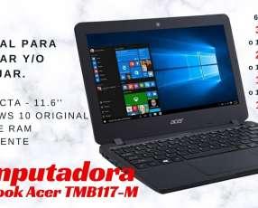 Notebook Acer TMB 117-M para estudiar y trabajar