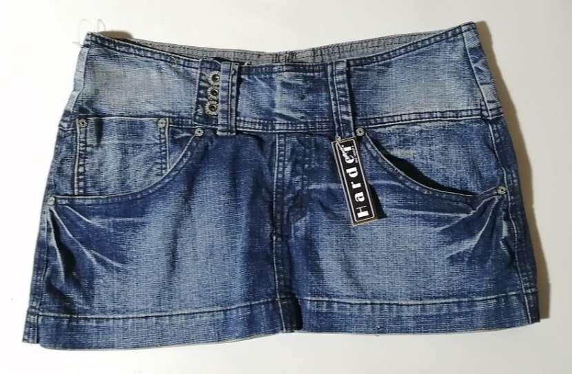 Pollera de jeans de cadera talle M azul - 0