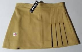 Pollera minifalda poliéster talle S beige