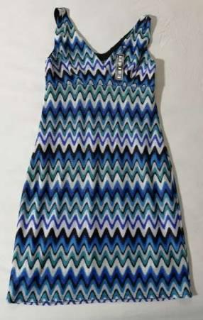Vestido de poliéster talle S azul con detalles