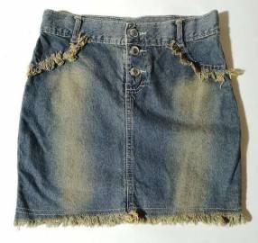 Pollera de jeans talle S azul gastado