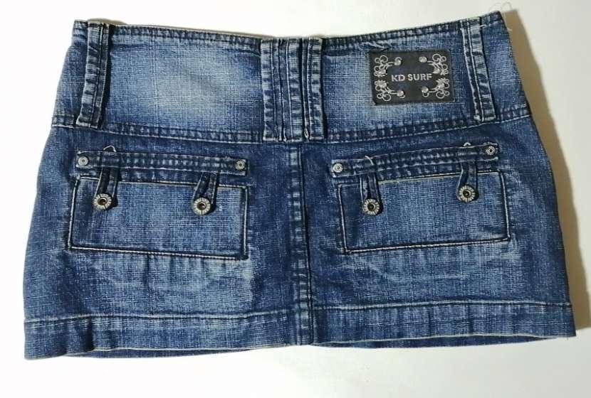 Pollera de jeans de cadera talle M azul - 1