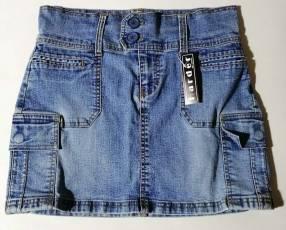 Pollera de jeans strech talle M azul