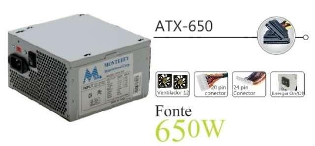 Fuente 650W Mtek (24+4 P) YQ650 real 430 Watts - 0