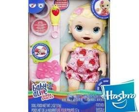 Muñeca Baby Alive Lily Hora de Comer Hasbro Super Snacks rubia