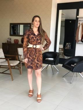 Vestido corto con botones con estampado de jaguar Moikana talla P
