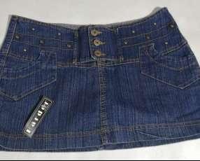 Minifalda de jeans de cadera talle S -COD-AA0014