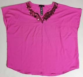 Blusa poliéster y algodón rosado talle XL