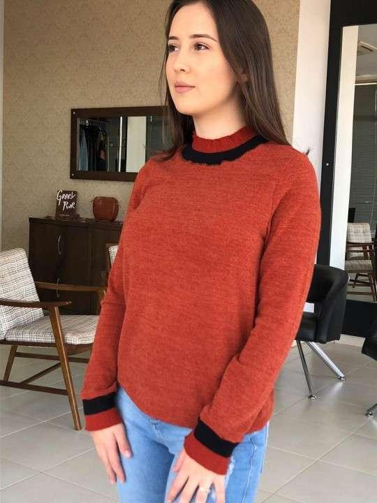 Blusa manga larga tricot terracota talla P - 0