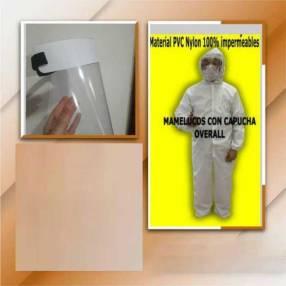 Mameluco PVC, protector facial, tapabocas