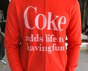 Chaqueta Coca Cola con cremallera roja talla P