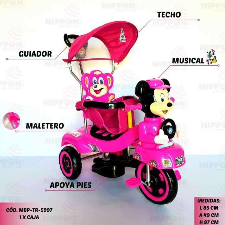 Triciclo guiador rosado - 0