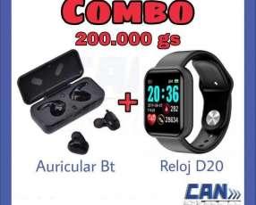 Reloj Smart D20 y auricular bluetooth