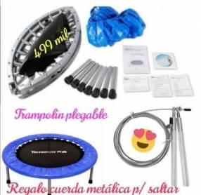 Trampolin plegable y cuerda metálica