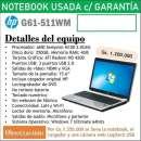 Notebook HP G61-511WM 15.6 pulgadas usada con garantía - 0