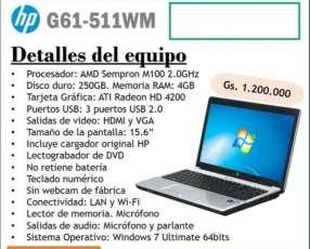 Notebook HP G61-511WM 15.6 pulgadas usada con garantía