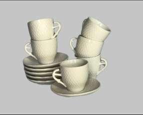 Juego de tazas de Porcelana para Cafecito.