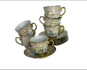Juego de tazas Porcelana,12 Piezas.
