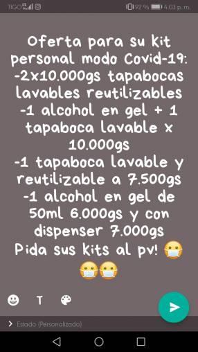 Kits personales de alcohol en gel y tapabocas