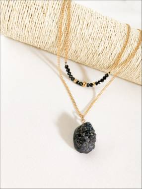 Collar doble de piedra mineral
