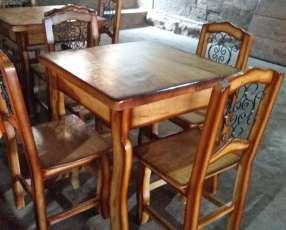 Juego de comedor rústico 4 sillas