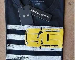 Remera masculina azza collection negro estampado L