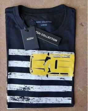 Remera masculina azza collection negro estampado L
