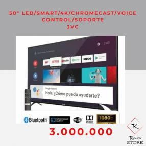 Smart tv led 4k JVC 50 pulgadas Chromecast voice control soporte