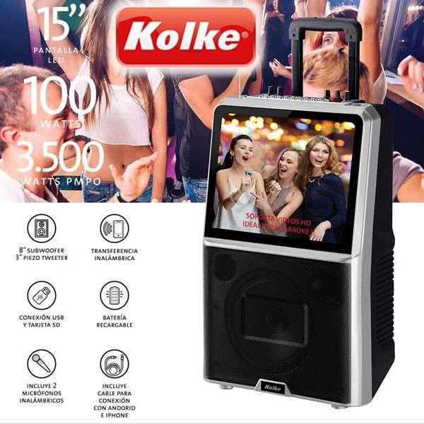 Parlante Kolke Pro-298 karaoke con pantalla 15 pulgadas - 0
