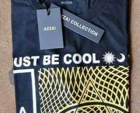 Remera azza collection masculino negro estampado talla M