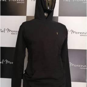 Remera zoomp masculino negro mangas largas bordado rayo con capucha