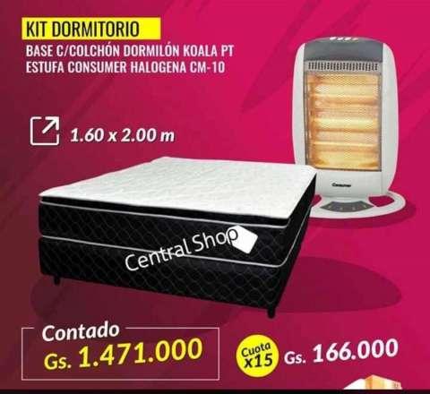 Kit dormitorio Basec/Colchón+Estufa