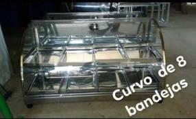 Exhibidor de empanada curvo acrilico 8 bandejas