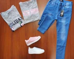 Remera+1 calzado +1 jeans traidos de USA