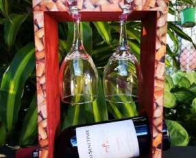 Porta vino con 2 copas