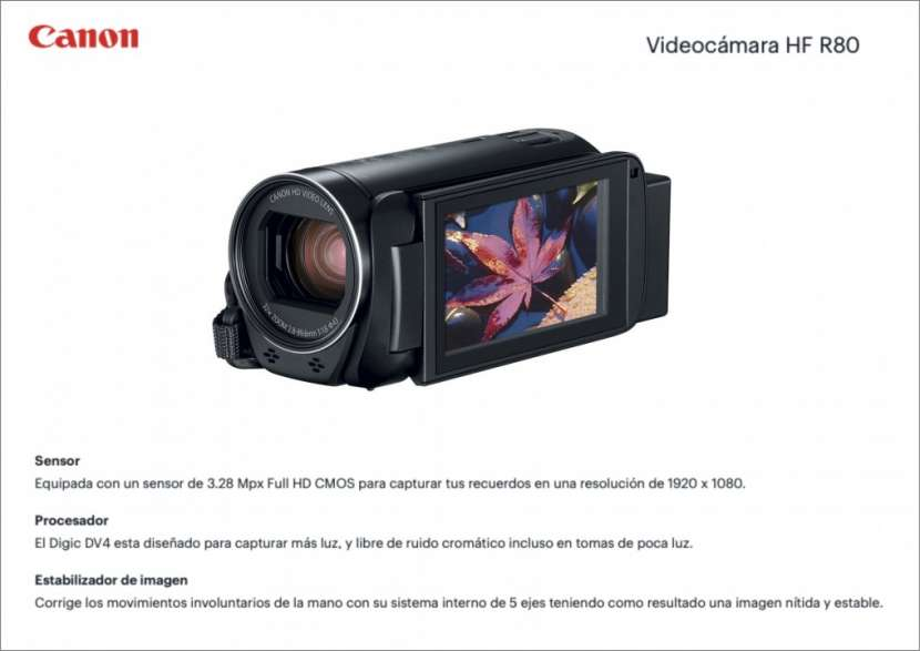 Filmadora Canon Vixia HF R80 - 0