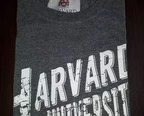 Remera Harvard masculino gris estampado talla L