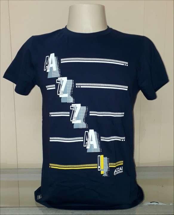 Remera azza collection masculino azul estampado talla M - 1