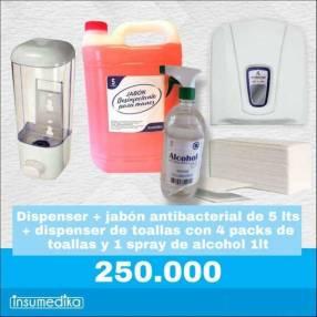 Dispenser de toalla intercalada jabón líquido más regalo