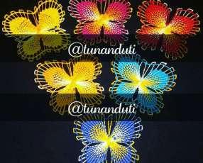 Apliques de ñanduti ojitos mariposas