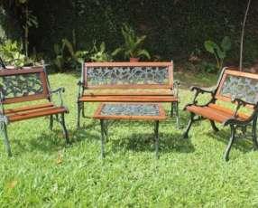 Juego de jardin cuadrille madera y hierro (27505656)