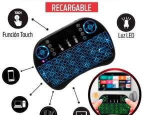 Mini teclado smart inalámbrico con luz led para tv notebook