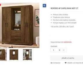 Ropero 4 puertas Capelinha blanco y marrón (165822)