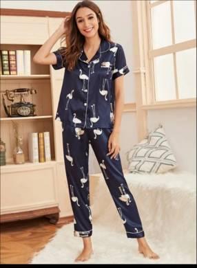 Pijama de flamingo satin pantalón y camisa