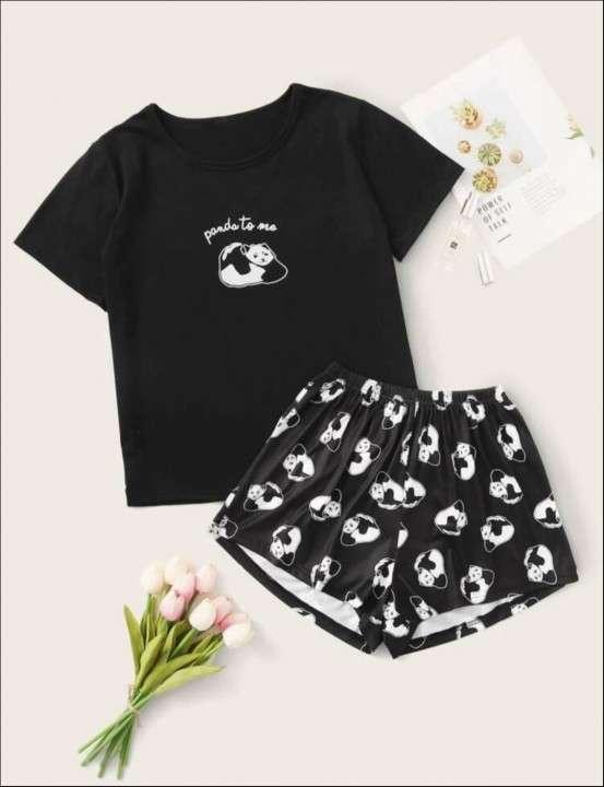 Pijama de panda remera y short - 0