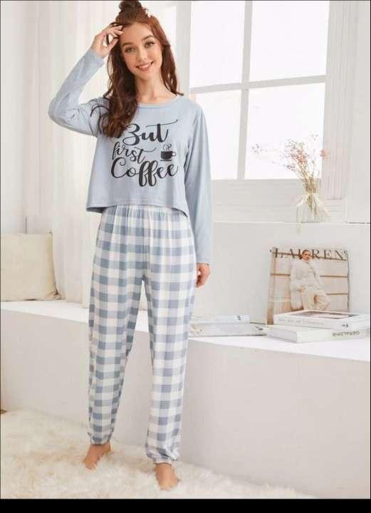 Pijama celeste cuadros but first coffe - 0