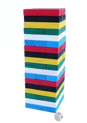 Tembleque colorido de madera 54 piezas - 1