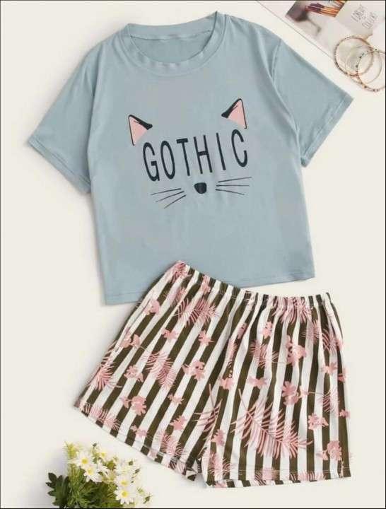 Pijama de gato remera y short - 0