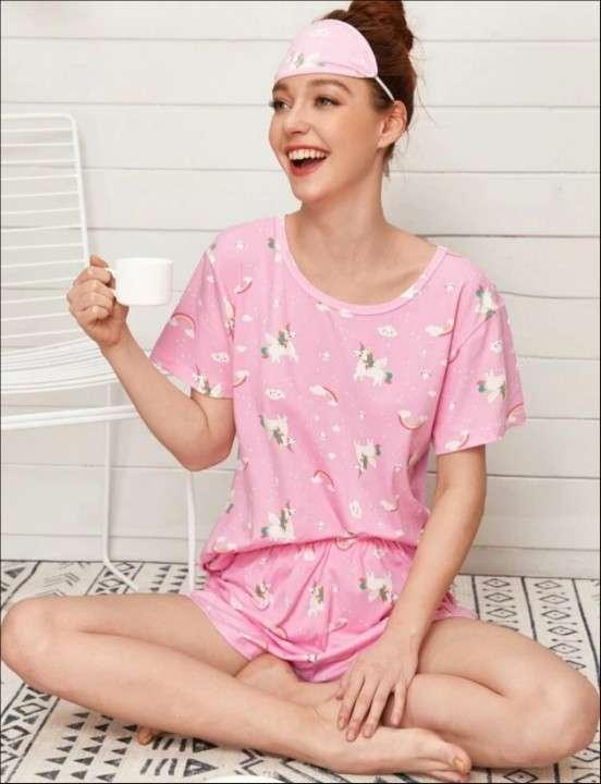 Pijama rosado unicornio más antifaz - 0